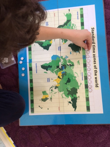 Montessori Time Zone Map and Clocks