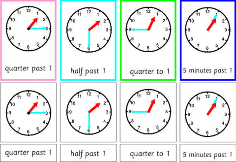 Telling The Time Clock Cards Set 2