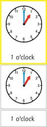 Montessori Telling The Time Clock Cards Set 1