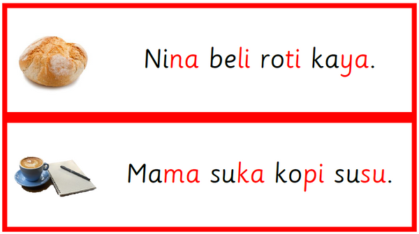 Level 2 Set : Red Series Bahasa Melayu KVKV Words
