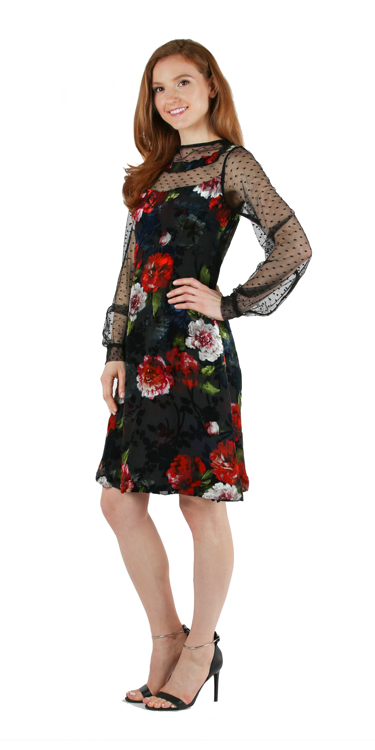 Black & Floral Velvet Burnout Cocktail Dress