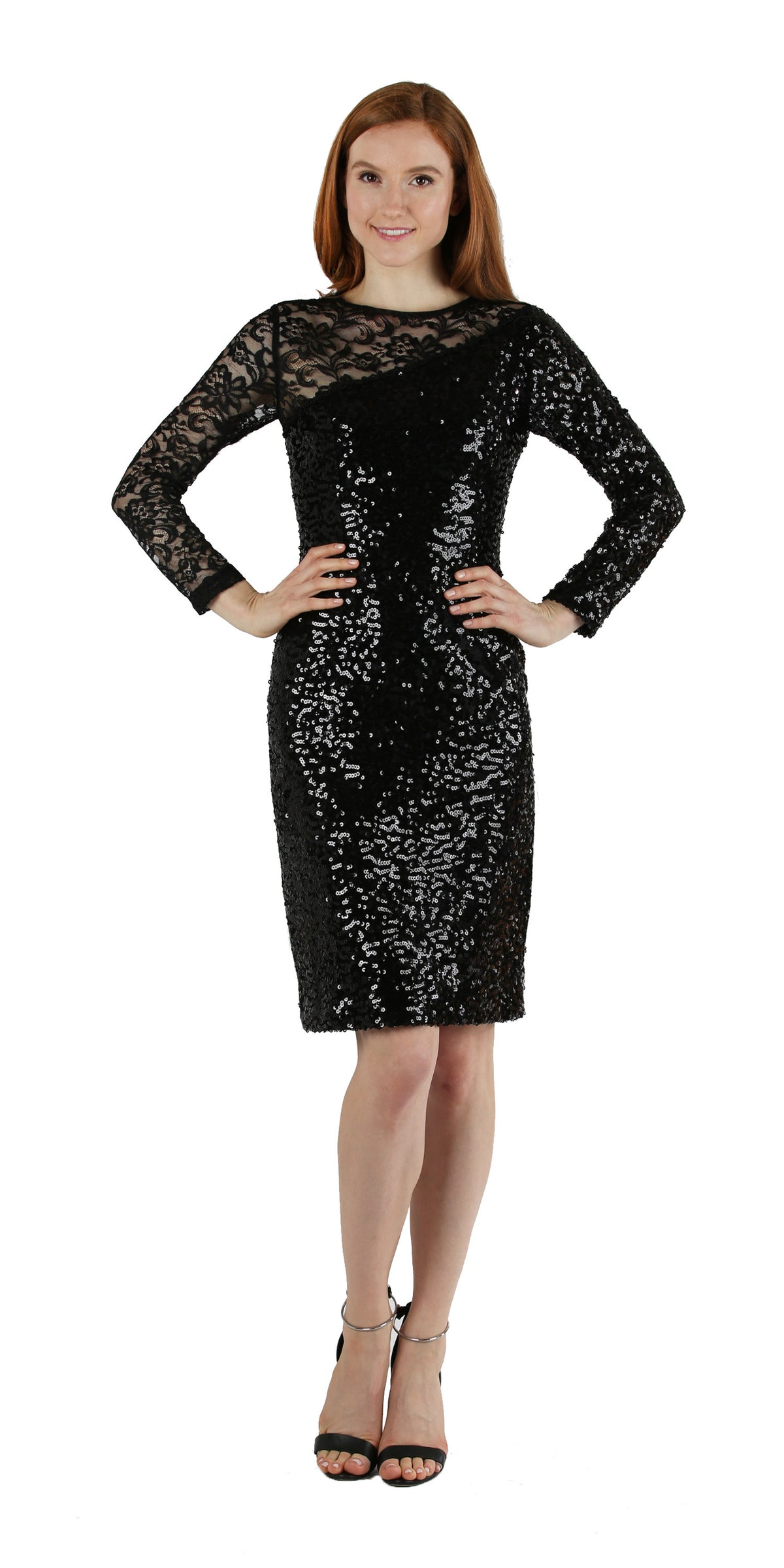 Sequin & Lace Asymetrical Cocktail Dress