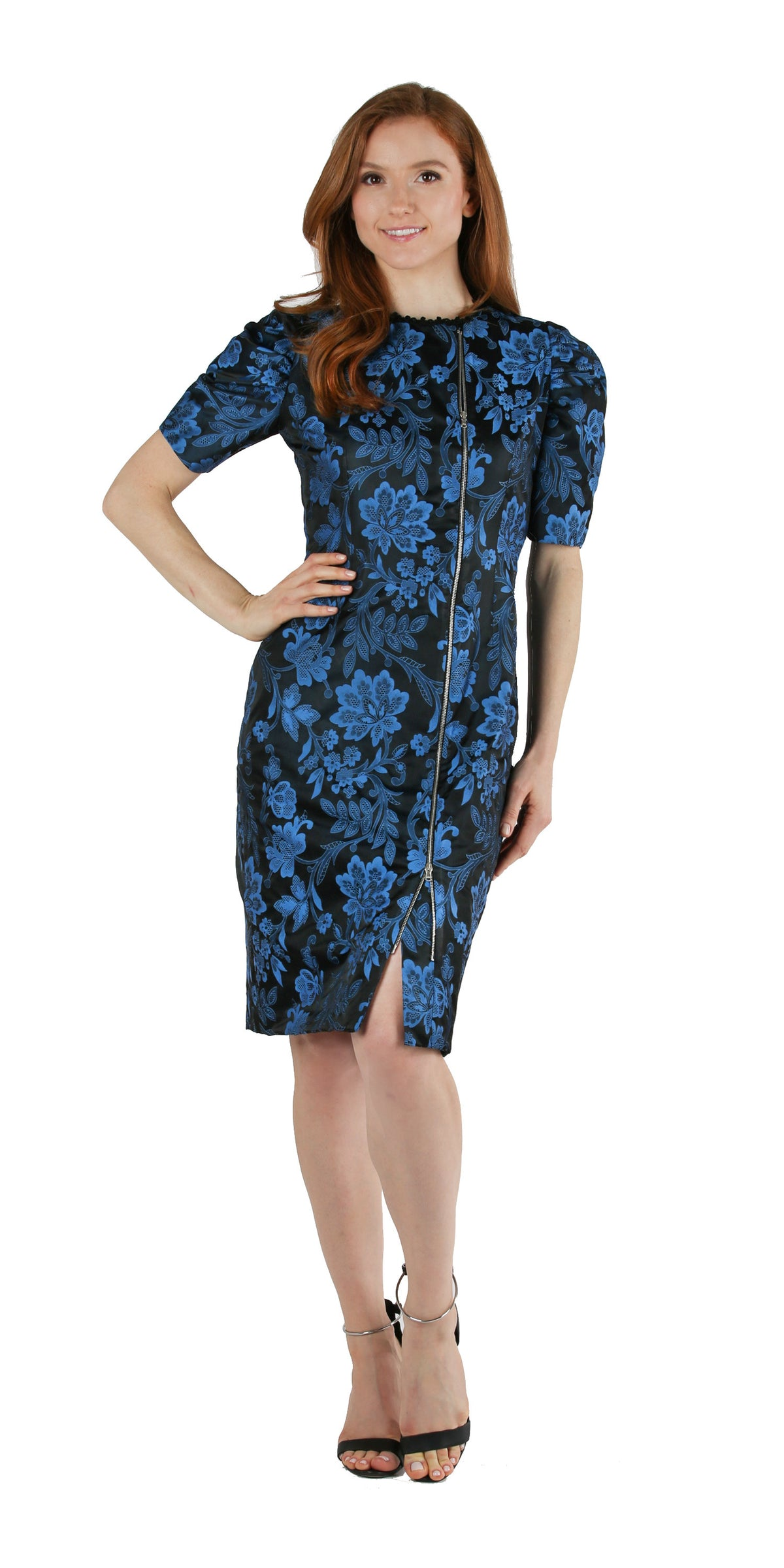 Blue & Black Floral Brocade Cocktail Dress