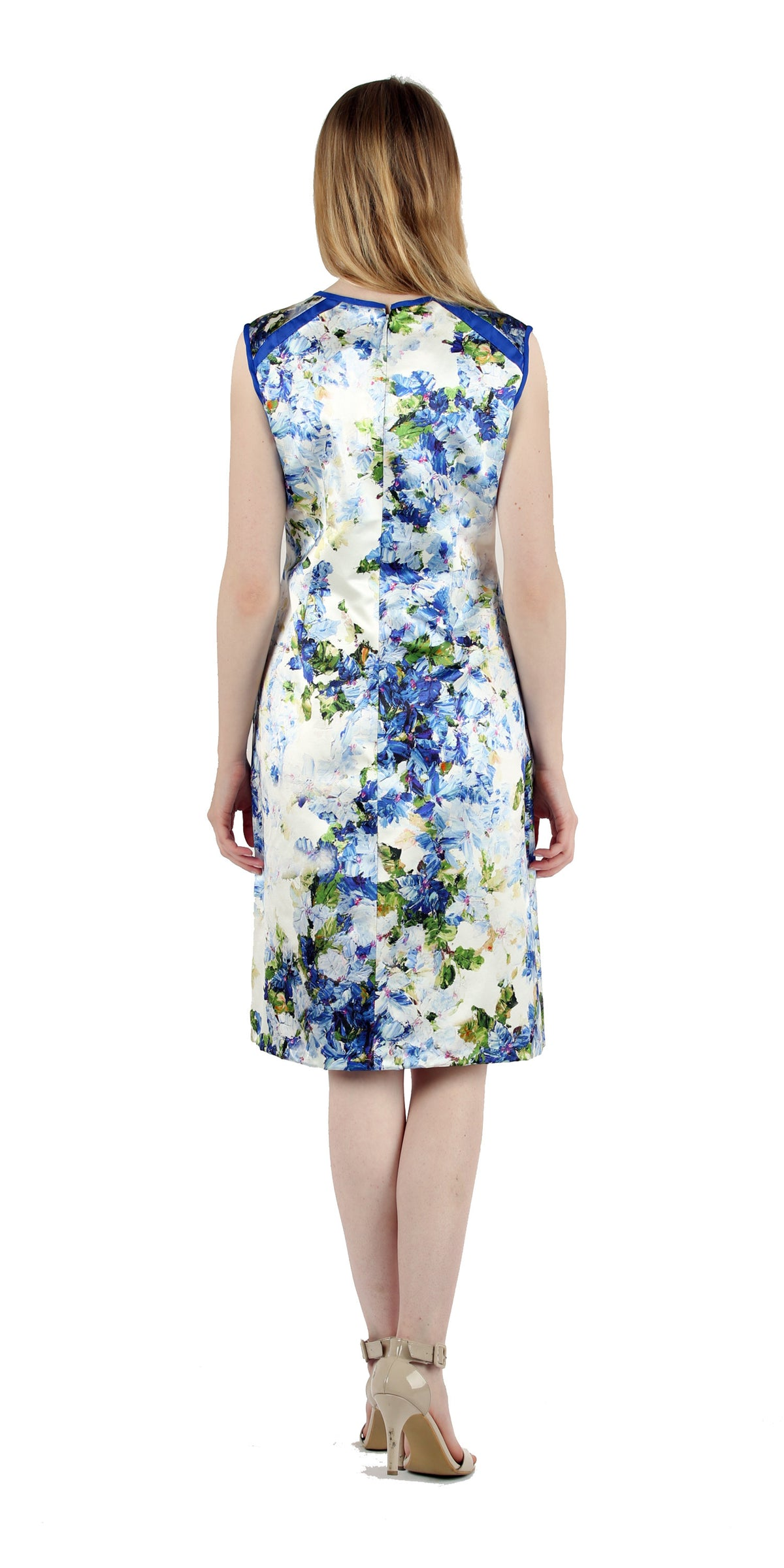 Blue & White Floral Silk Dress with Matching Bolero