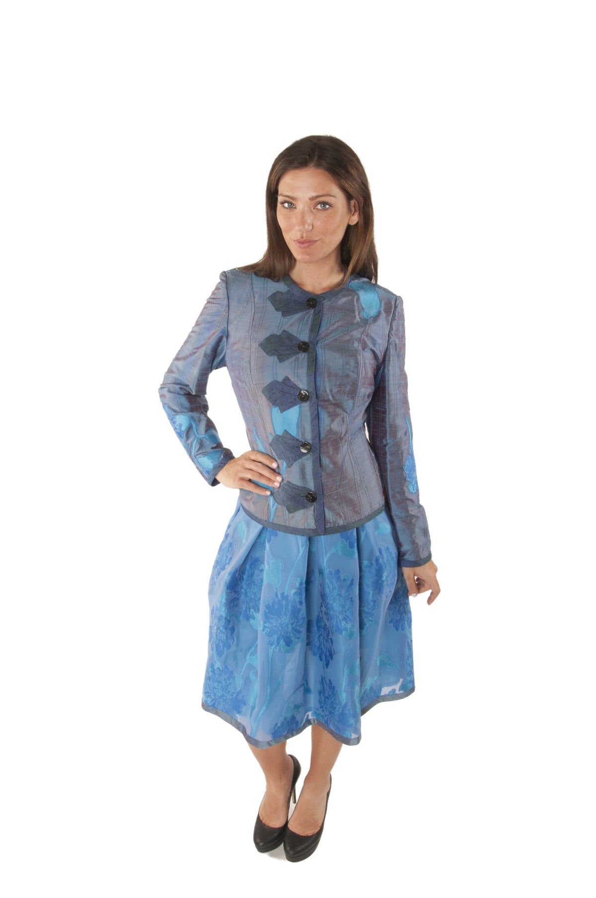 Floral Silk Taffeta Jacket & Skirt