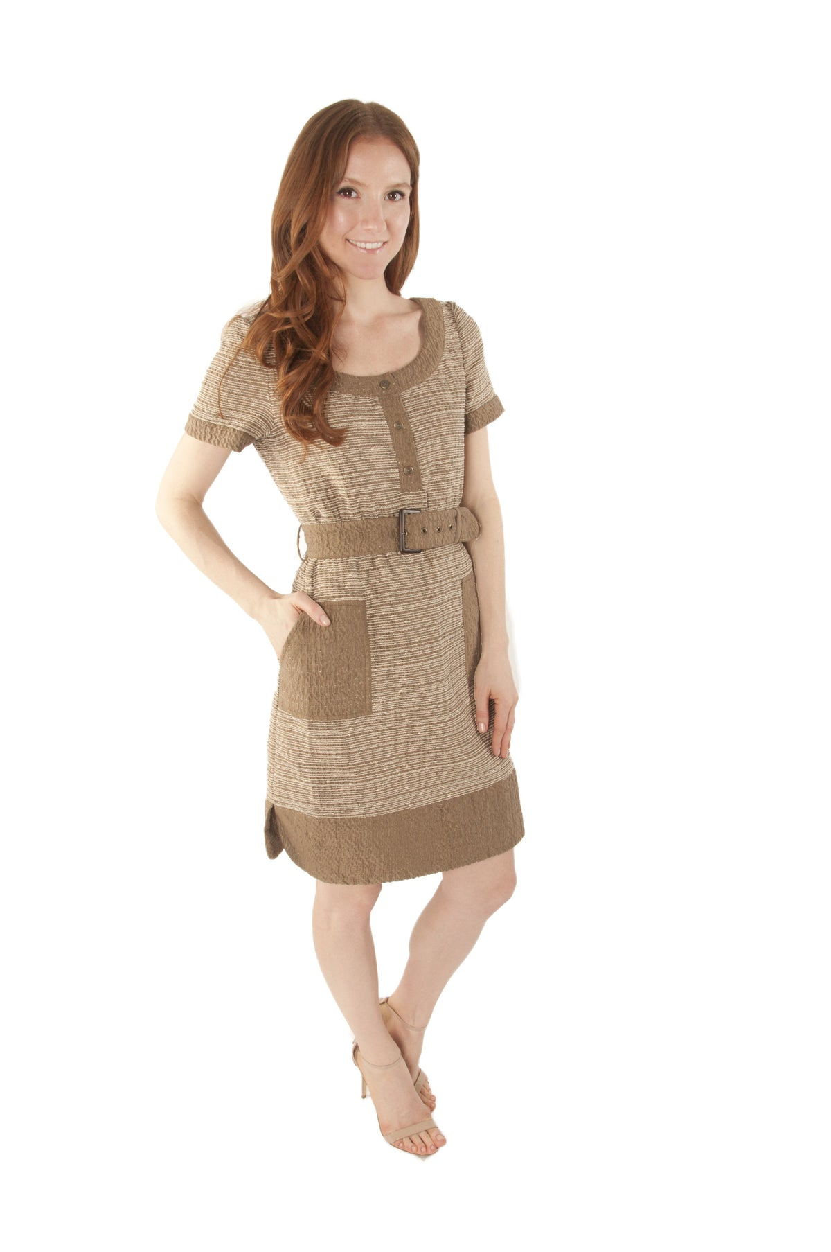 Shades of Beige Striped Dress