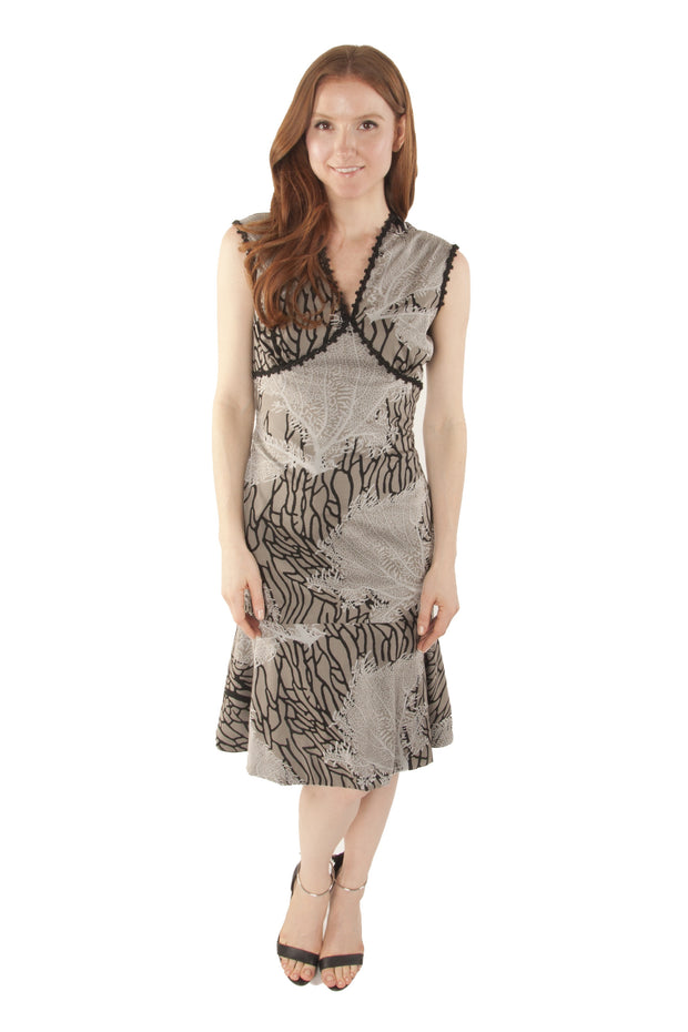 Cotton Coral Printed Flounce Dress