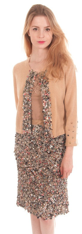 Sequin Encrusted Cashmere Sweater & Skirt