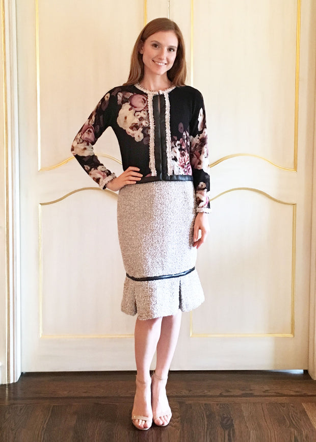 Floral Cashmere Jacket & Tweed Skirt
