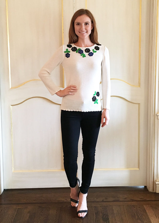 Crochet Sweater with Flower Trim