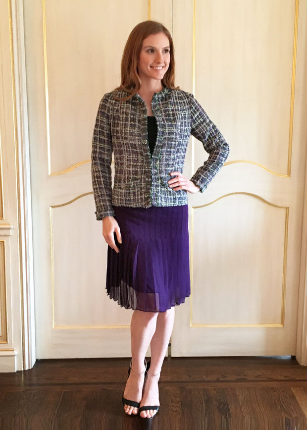 Shades of Purple & Green Tweed Jacket