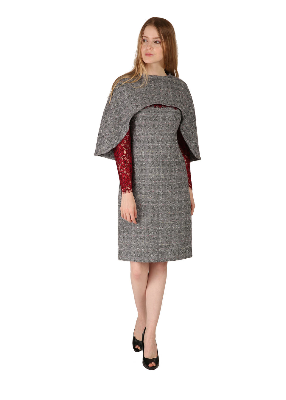 Grey Patterned Tweed Cape