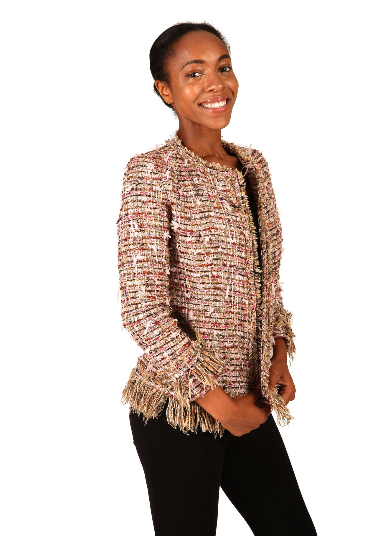 Pink Tweed Fringe Jacket