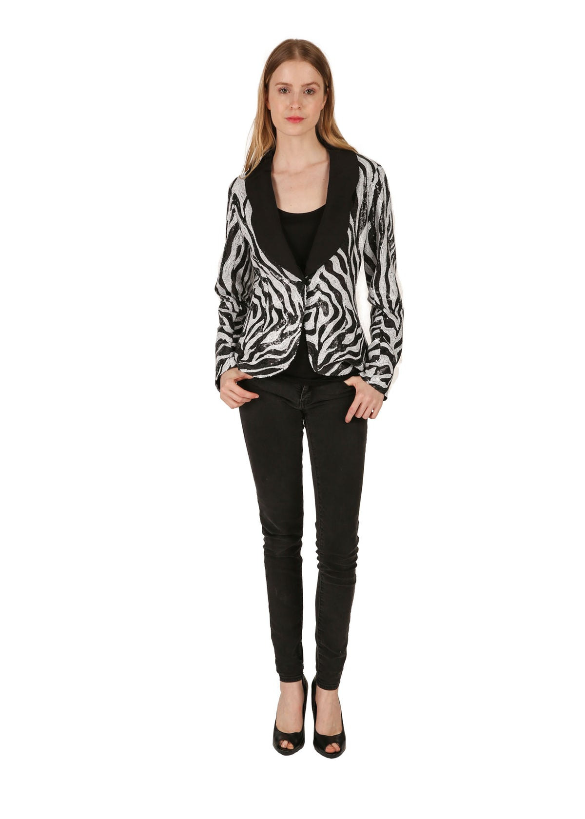 Zebra Print Sequin Jacket