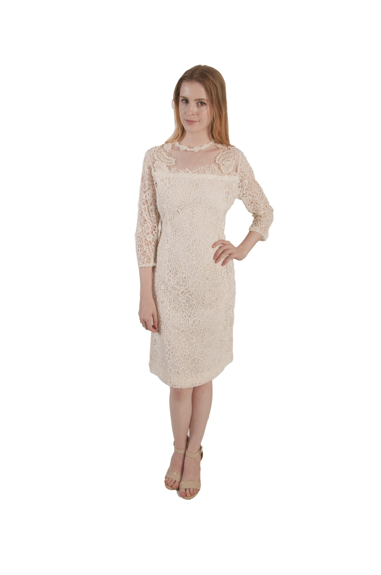 Cream Lace & Crepe Cocktail Dress