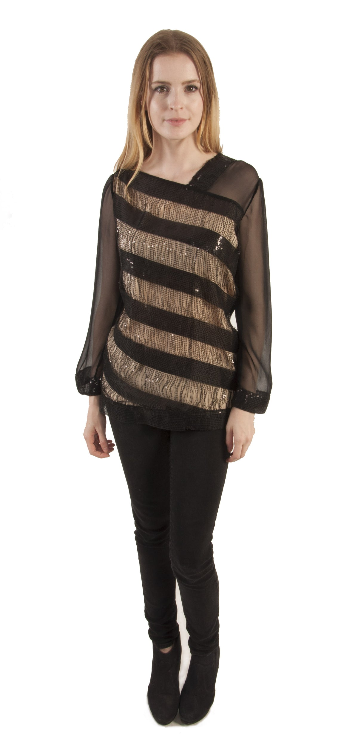 Sequin and Stripe Silk Chiffon Blouse
