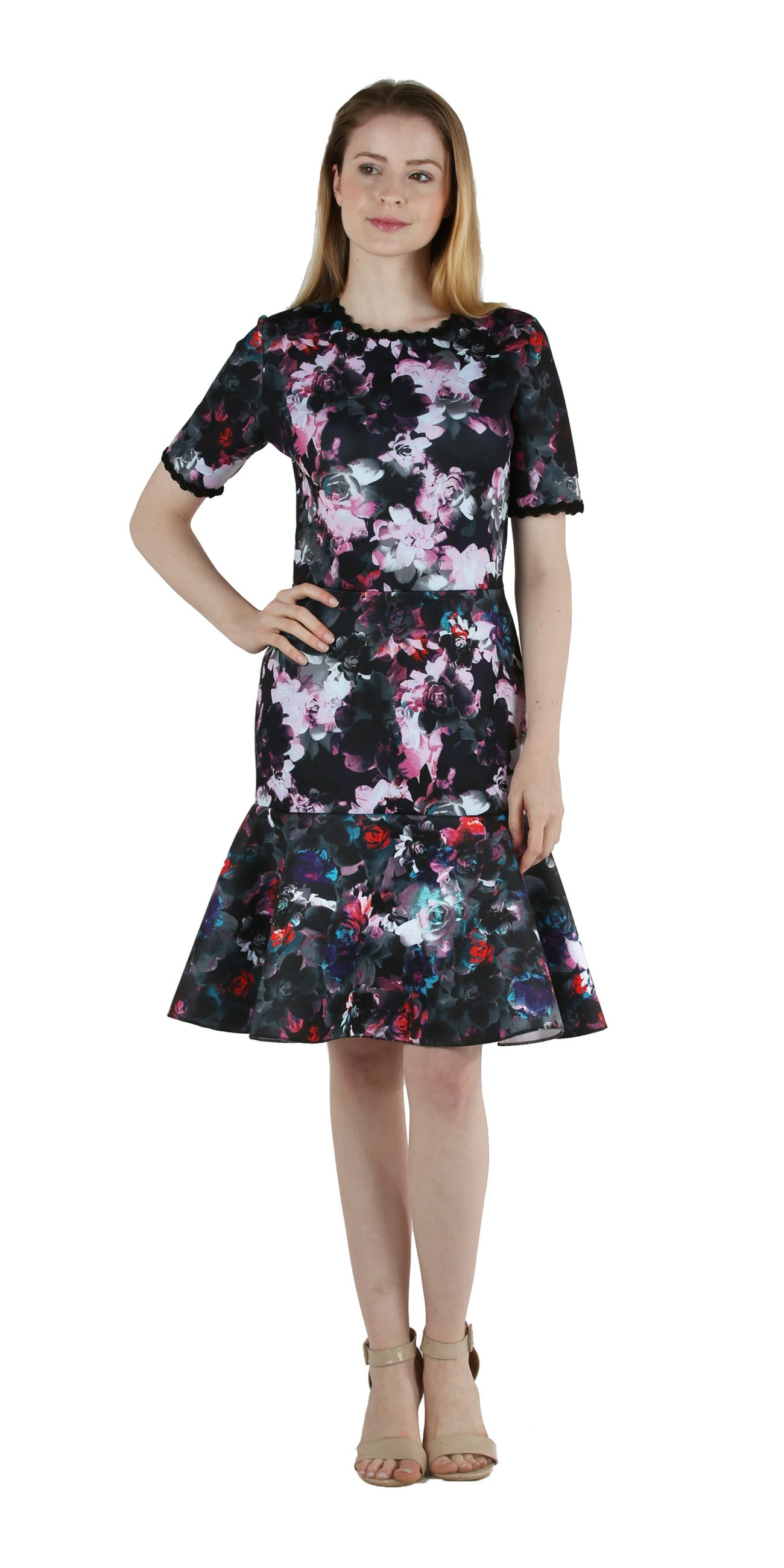 Floral Scuba Dress with Full Flounce Hem