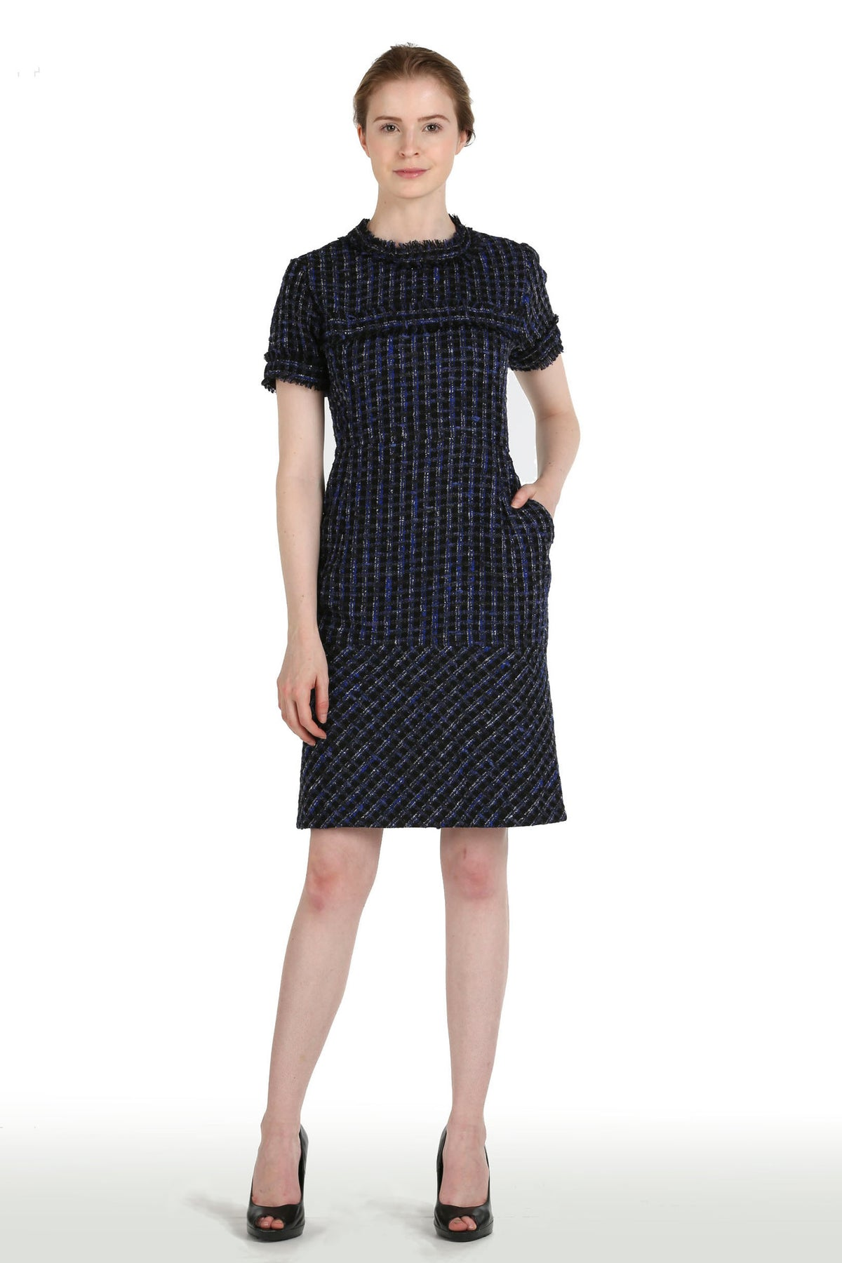 Tweed Dress in Blue & Black