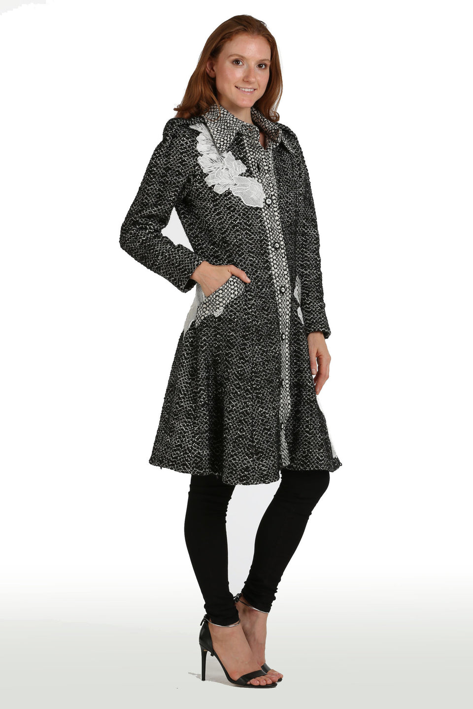 Lace & Tweed Flare Coat