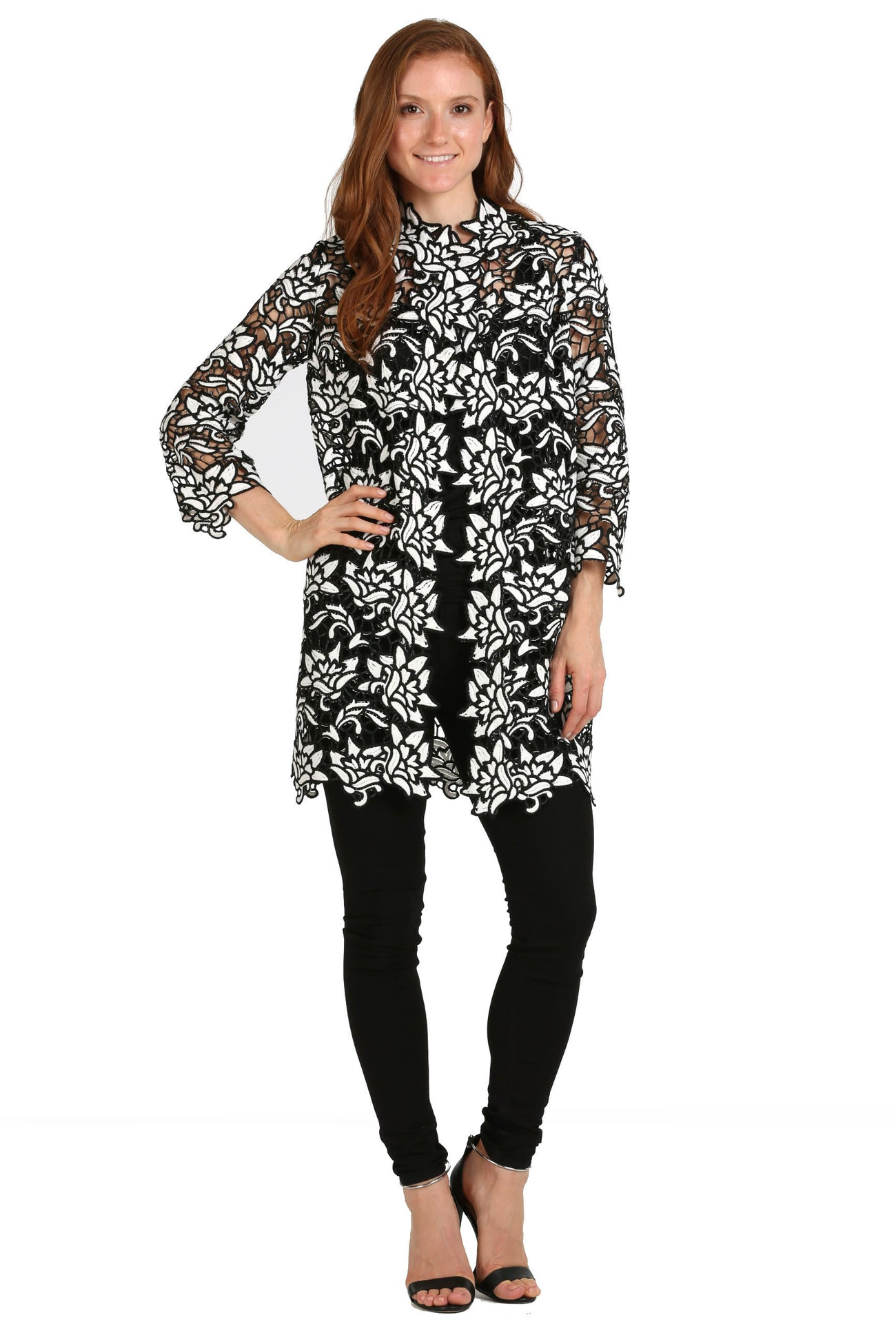 Floral Black & White Lace Jacket