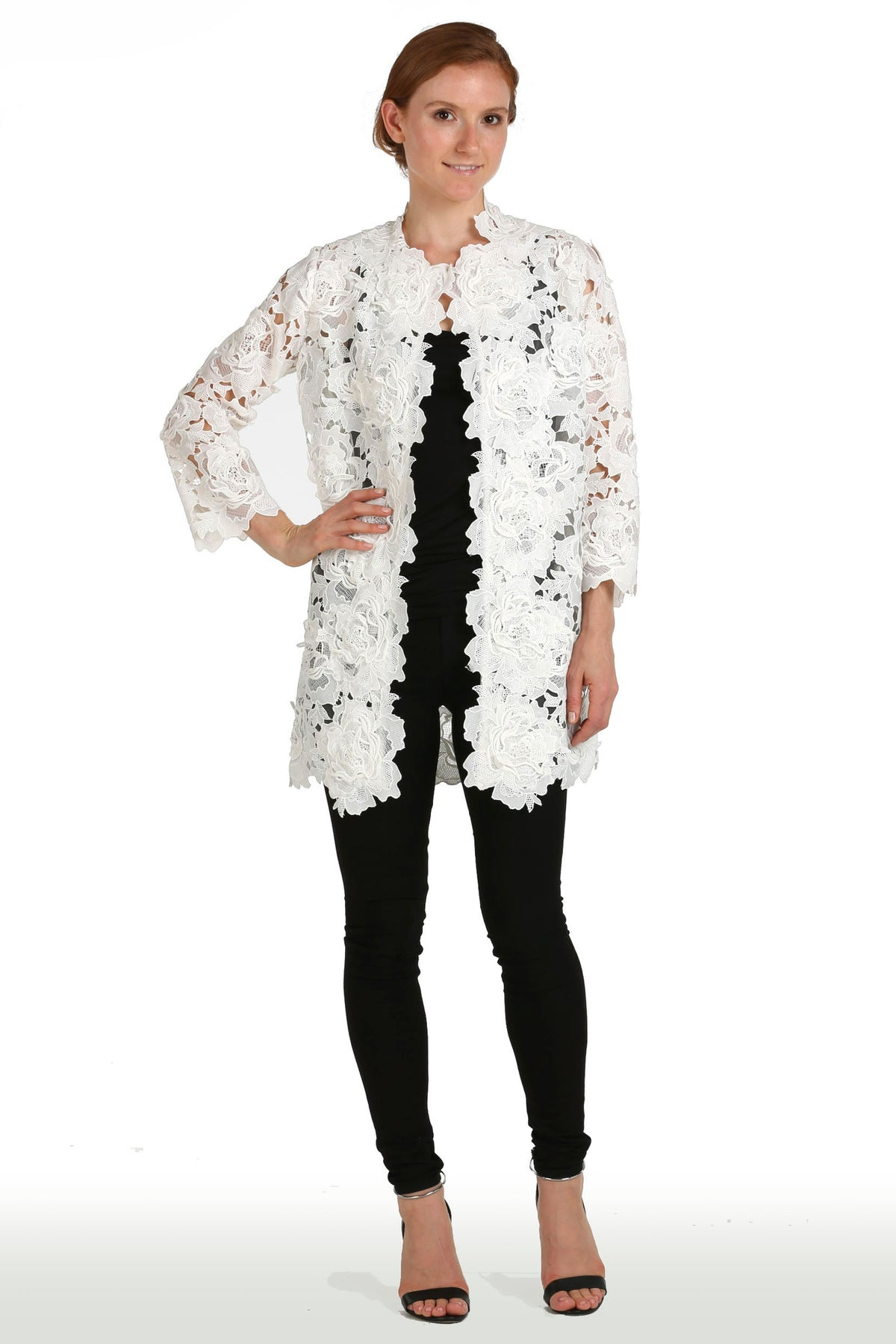 White Floral Guipure Lace Jacket