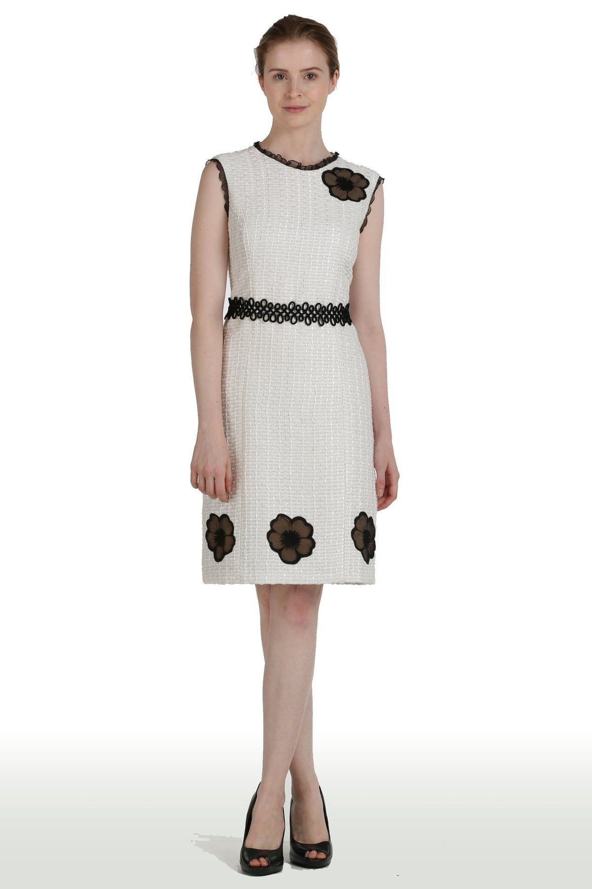White Tweed Dress with Chiffon Embroidered Flower Inlets