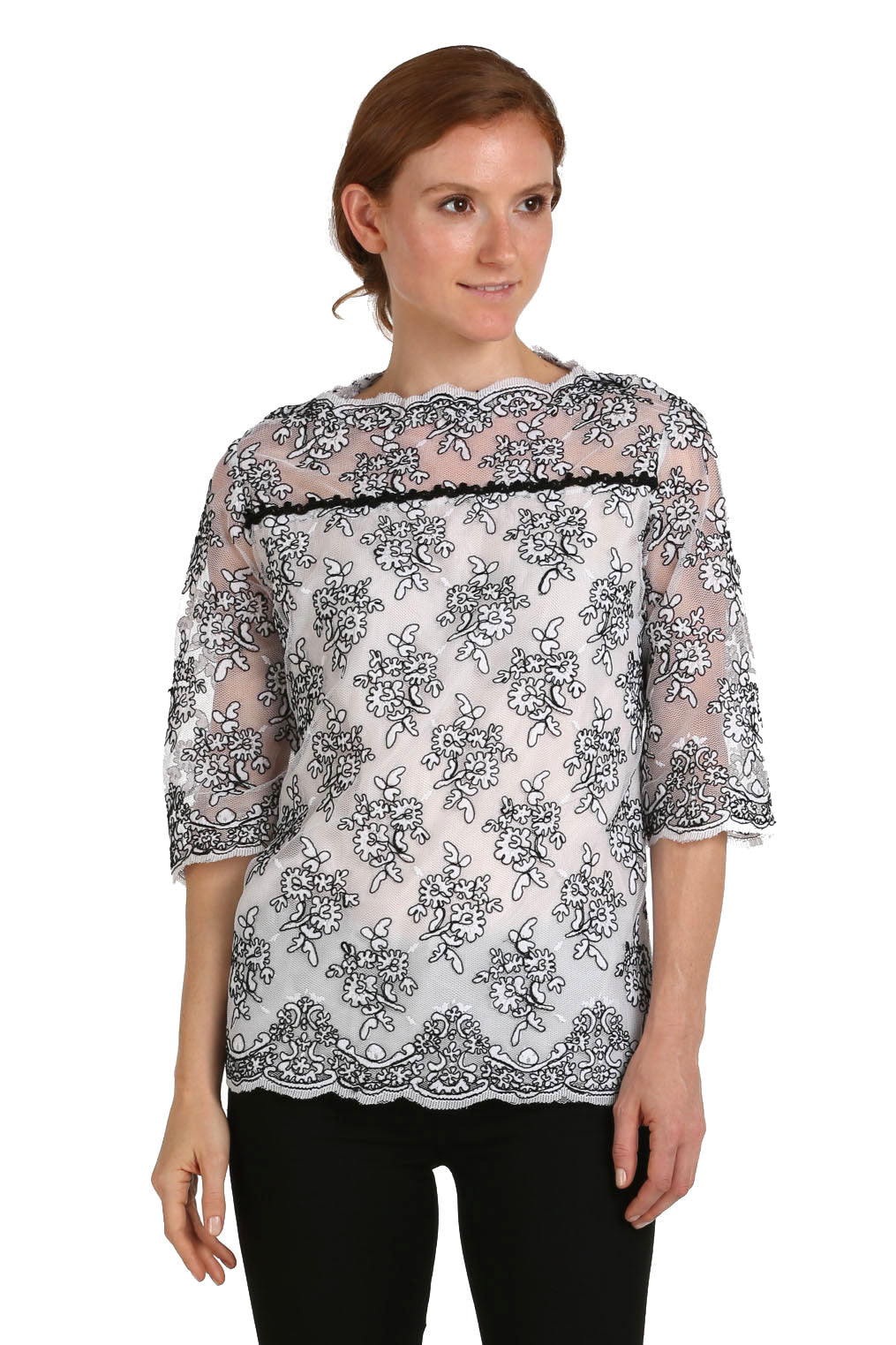 White Lace Blouse with Black Trim
