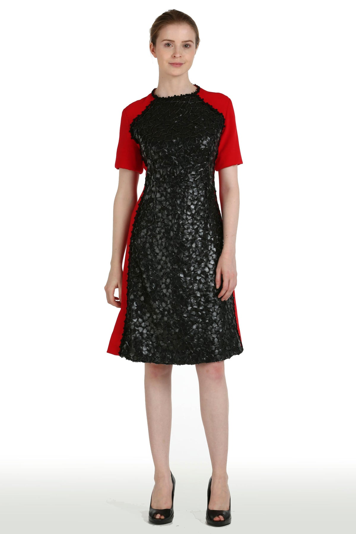 "Red Crepe Dress with Leather ""Palettes"" Panel"