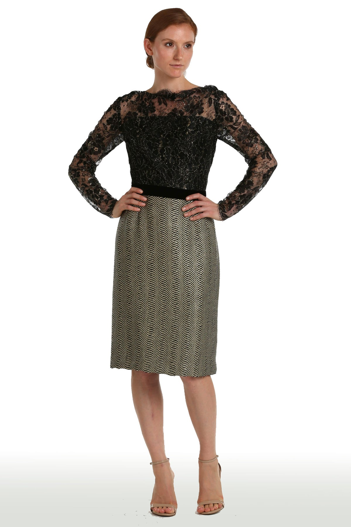 Black & Gold Lace & Tweed Dress