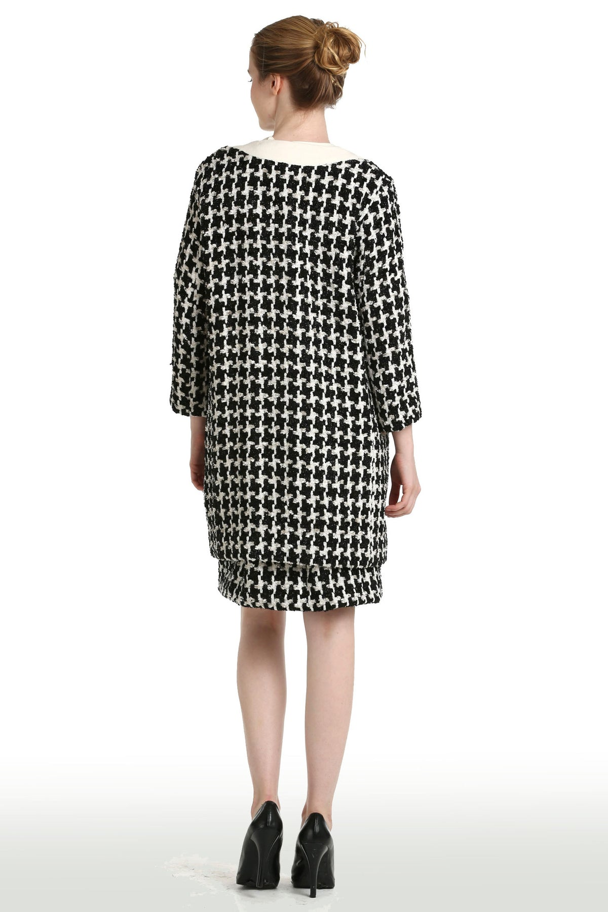 Black & White Houndstooth Coat