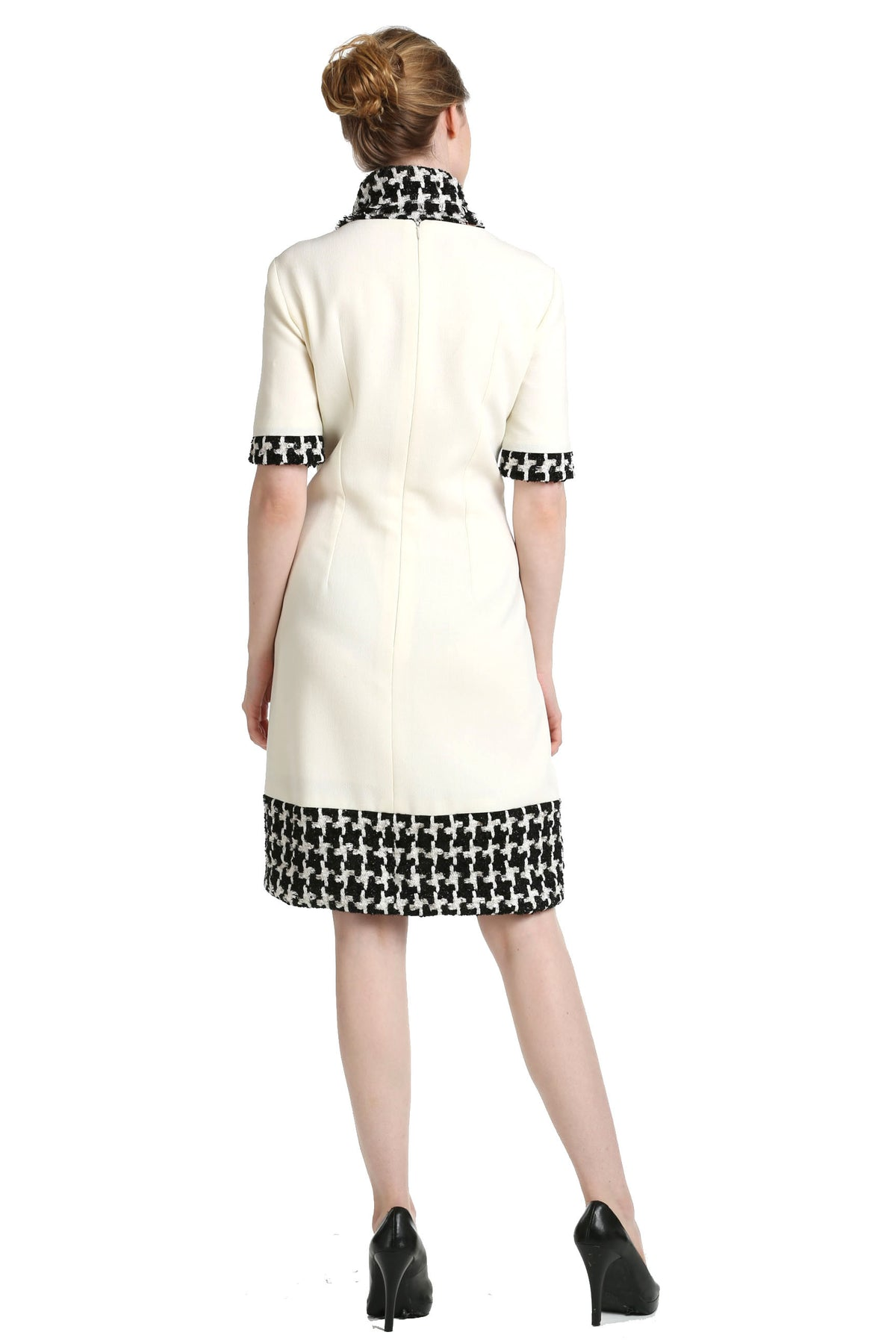 Houndstooth Trimmed Wool Crepe Dress & Scarf