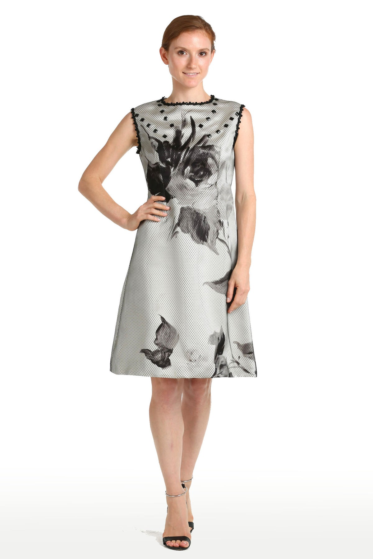 Silk Floral Print Dress with Jet & Net Overlay