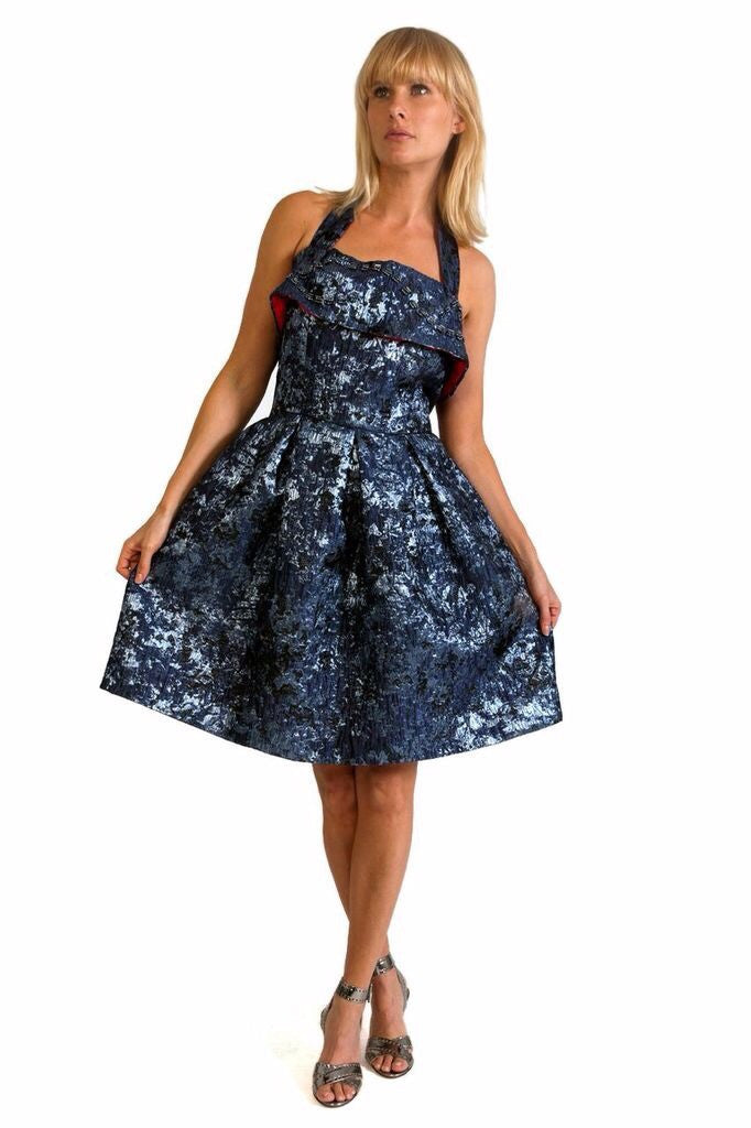 Blue Brocade Full Cocktail dress