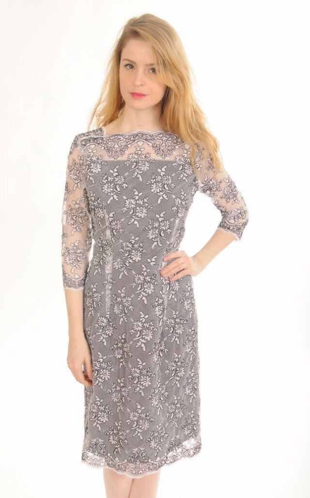 White & Black Lace Cocktail Dress