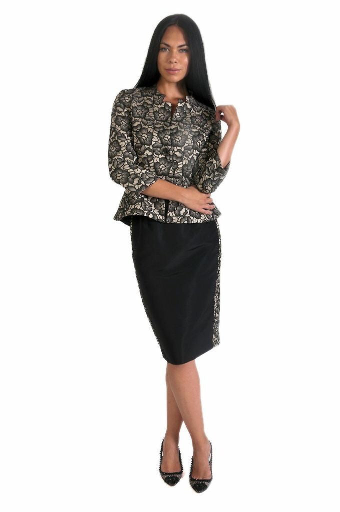 Peplum Skirt Suit in Champagne & Black