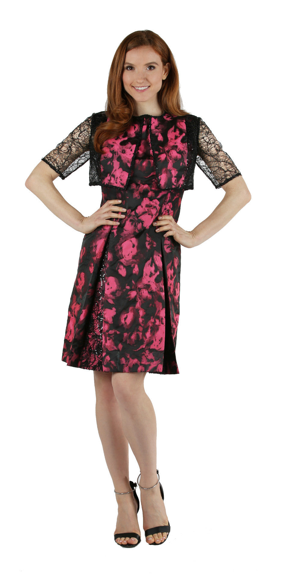 Black & Pink Floral Brocade Dress with Sequin Net Inlays and Matching Bolero Jacket