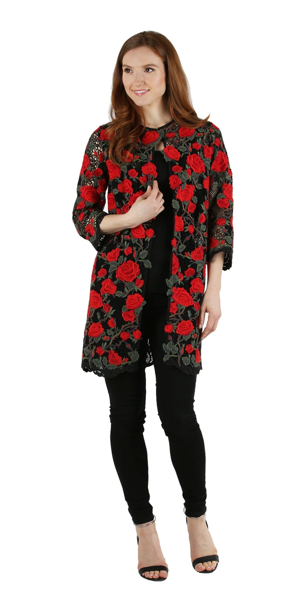 Absolute Red Rose Lace Overlay Jacket