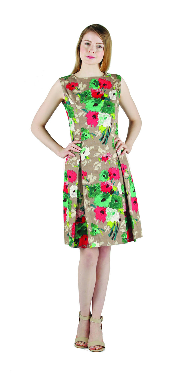 Canvas Floral Pleated Dress