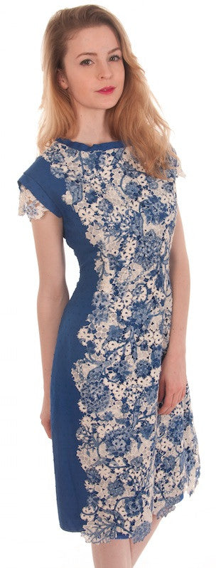Painted Lace & Blue Cotton Dress