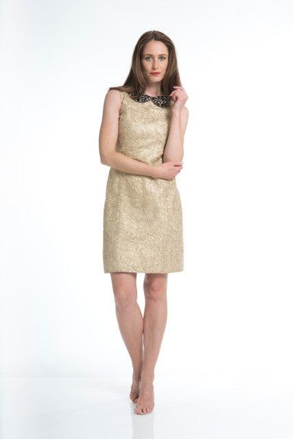 Golden Web Dress with Stone Encrusted Collar