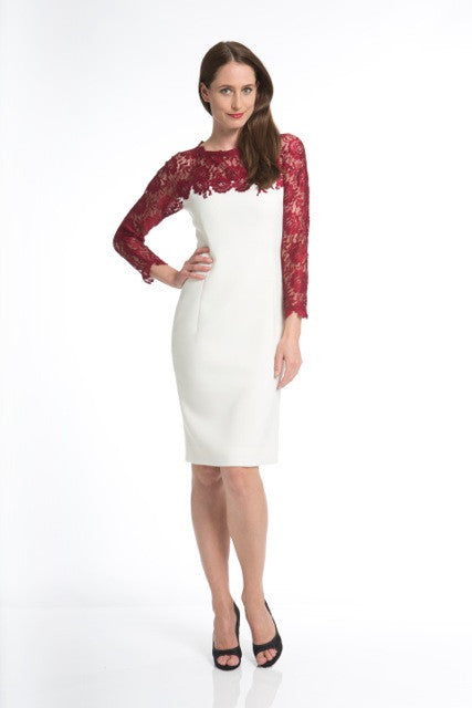 White Crepe Evening Dress with Ruby Red Lace