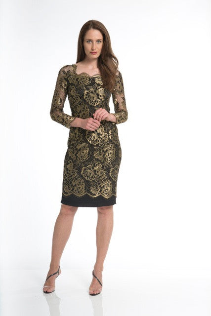 Gold and Black Lace Evening Dress