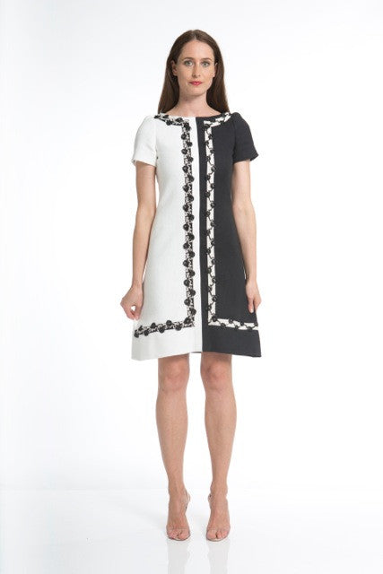 Pique Dress in Half Black & Half White