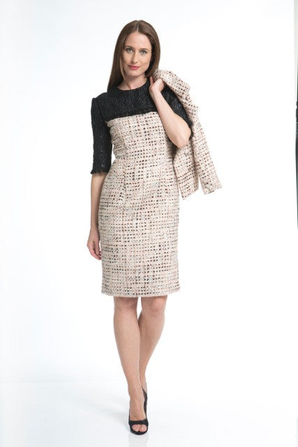 Pink tweed dress with black yoke