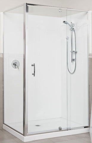 1200 x 900 Chrome Frame Shower Center waste - Bathroom Clearance