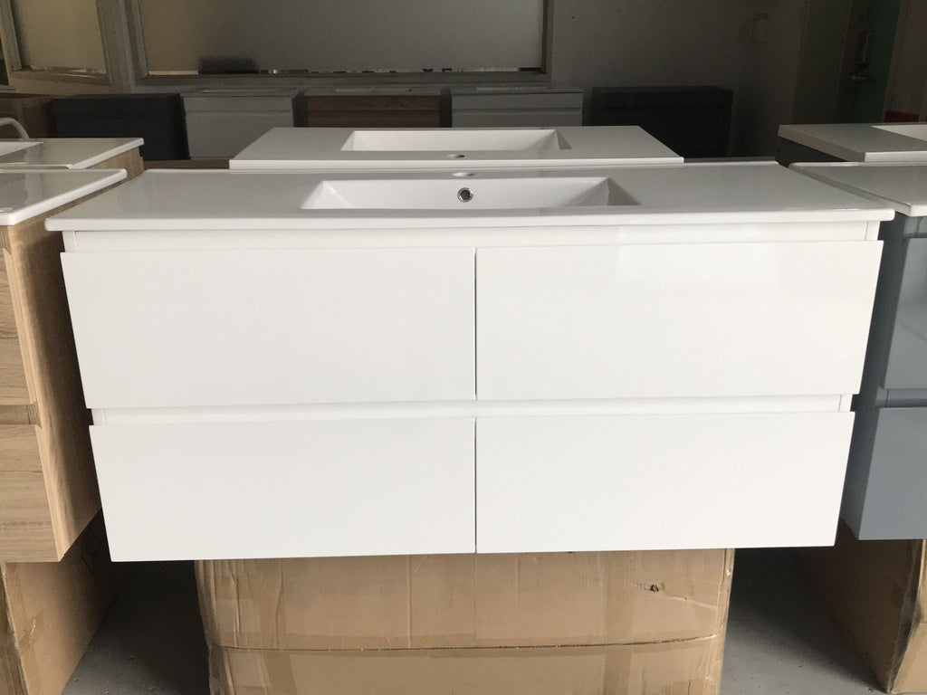 PLYWOOD 1200 WHITE WALL HUNG VANITY FOR SINGLE BASIN - bathroom-clearance-limited