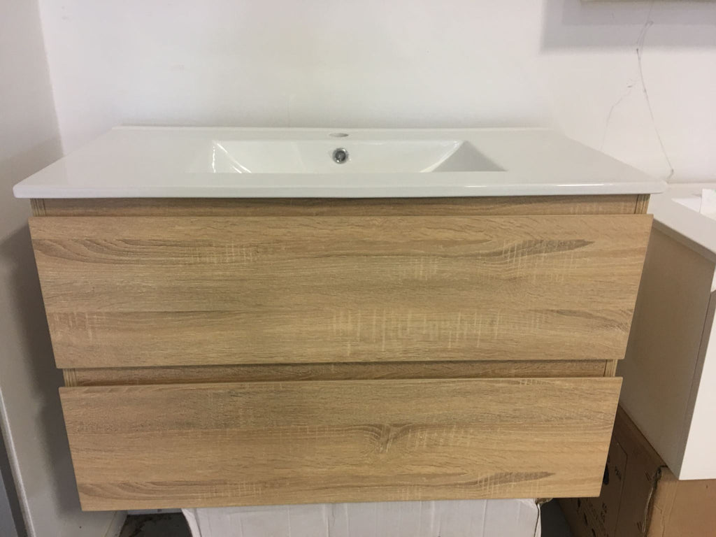 PLYWOOD 900 WALL HUNG SINGLE BOWL VANITY LIGHT OAK - Bathroom Clearance