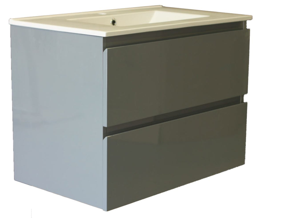 Plywood Dark Grey 900 wall-hung vanity with ceramic top - Bathroom Clearance