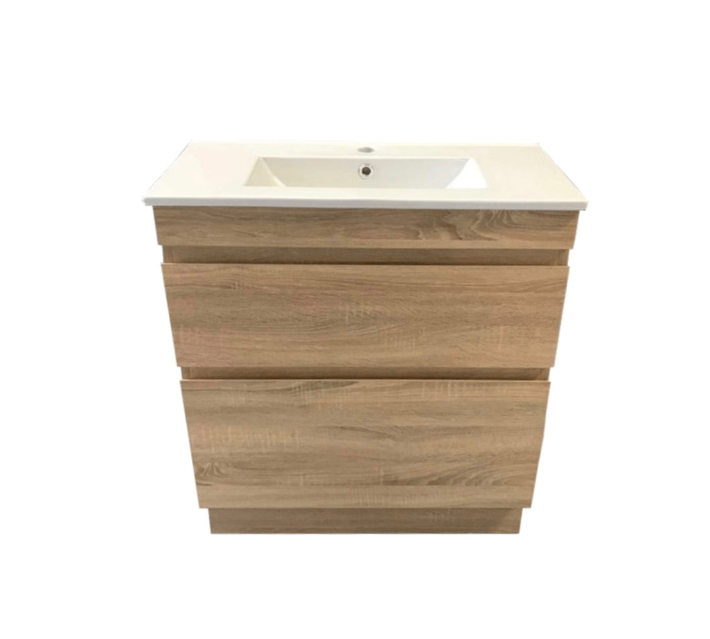 PLYWOOD LIGHT OAK SLIM VANITY 900x360 WITCH CERAMIC TOP - Bathroom Clearance