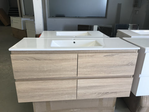 PLYWOOD 1200 LIGHT OAK WALL HUNG VANITY FOR SINGLE BASIN - Bathroom Clearance